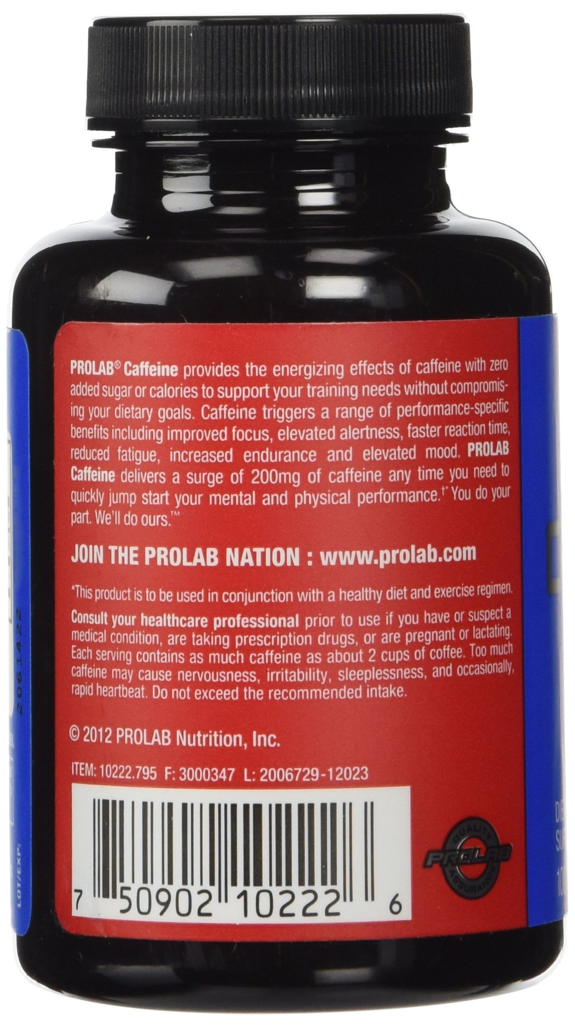 ProLab Caffeine Pills Energy and Focus: (3) 100-Count Bottles (200 mg) by ProLab (Image #6)