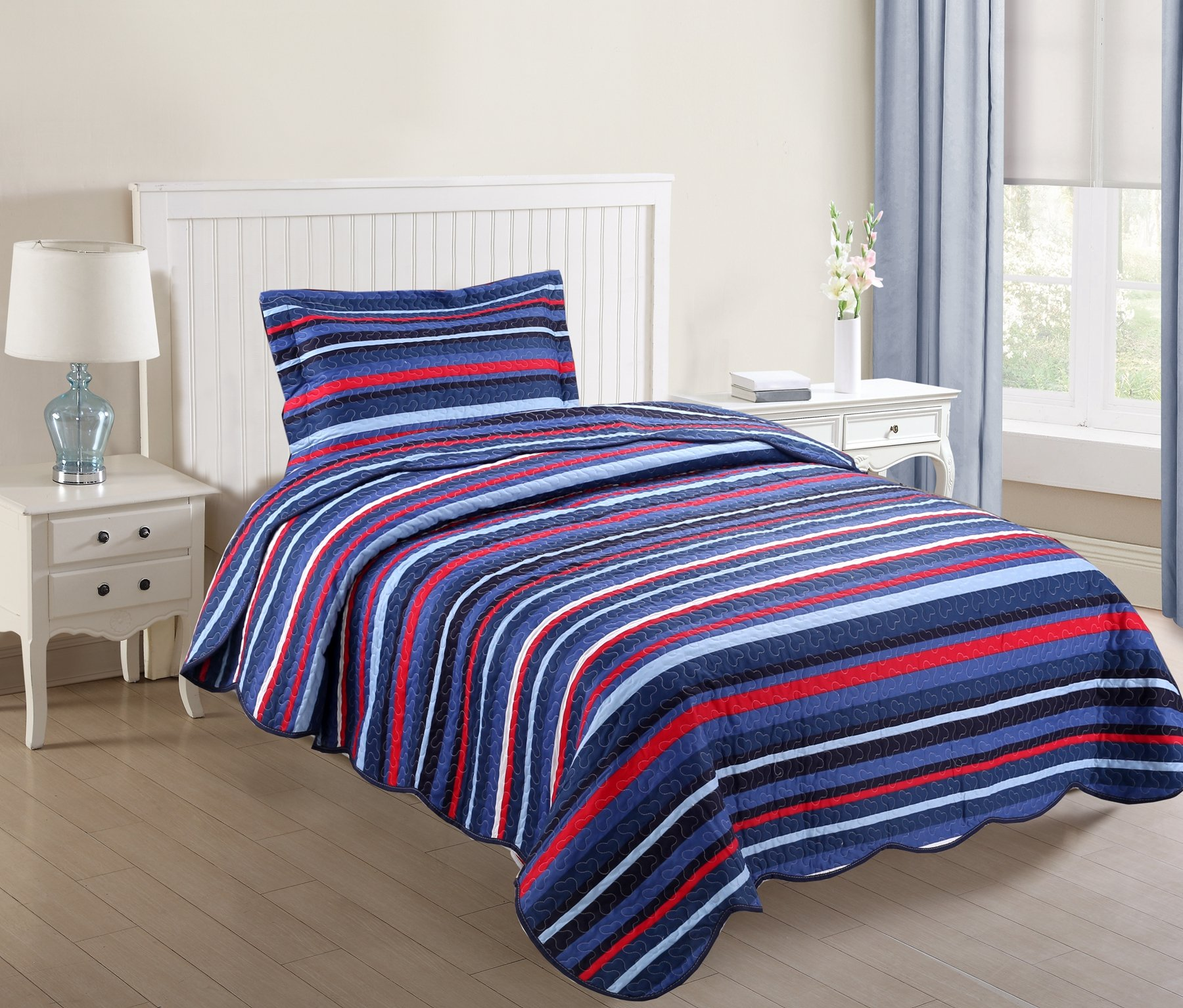 MarCielo 2 Piece Kids Bedspread Quilts Set Throw Blanket for Teens Boys Girls Bed Printed Bedding Coverlet, Twin Size (Navy Blue Ocean Breeze)