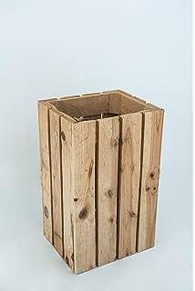 ideal para cocina mDesign Papelera de bambu rectangular Perfecta papelera de oficina o para la habitaci/ón en robusto pl/ástico Con dise/ño moderno ba/ño u oficina bambu