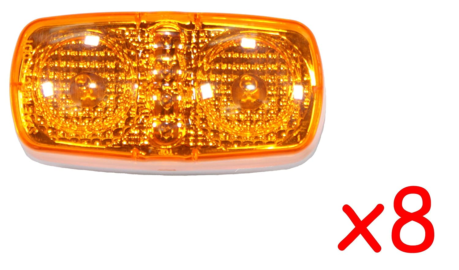 """4 Amber 4/"""" LED Duo Clearance Fender Side Marker with Reflex Truck Trailer Lights"""
