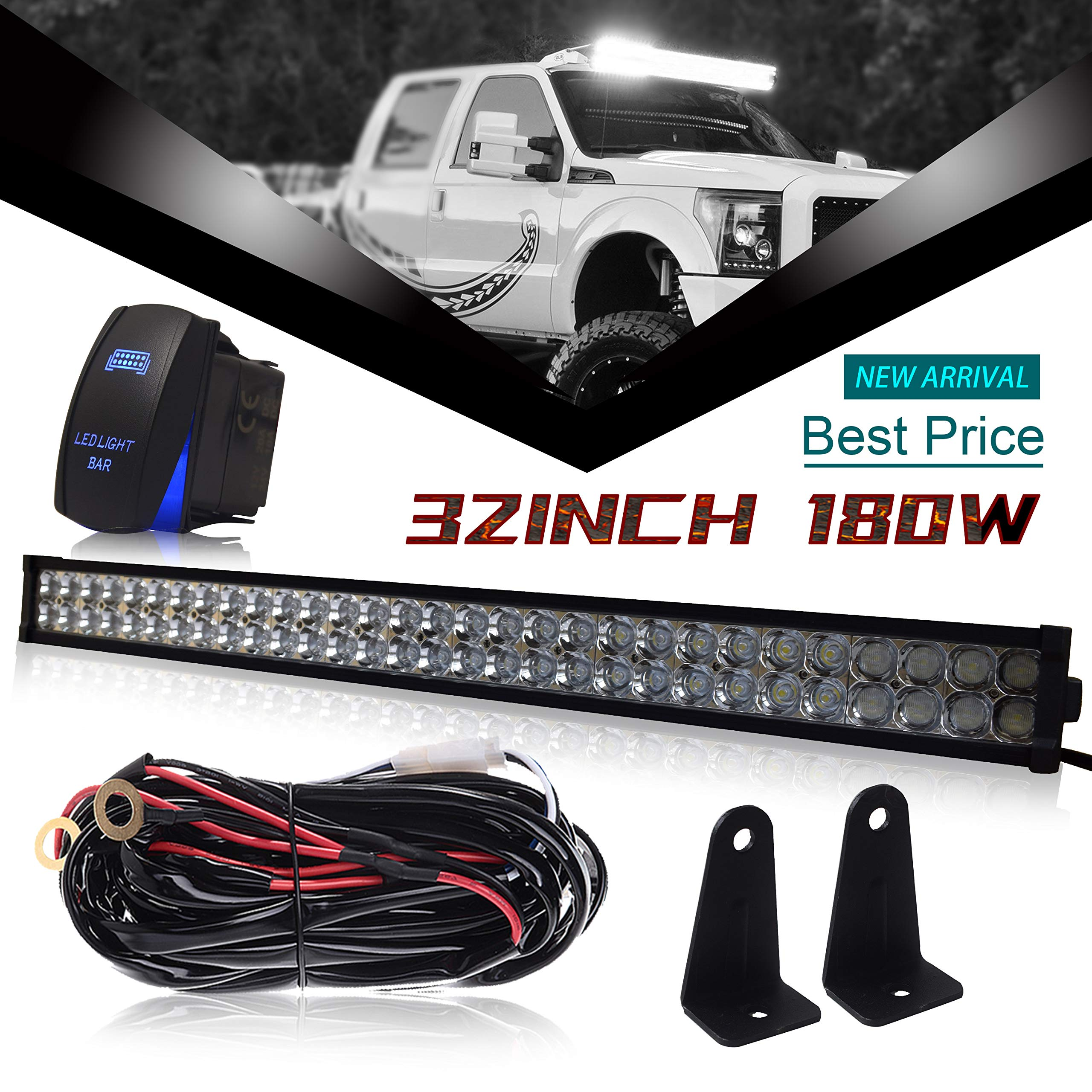 2017 Chevy Equinox Grill Top Deals Lowest Price Jeep To Wiring Harness Dot 32 Inch 180w Led Light Bar Combo Windshield Bumper 1x