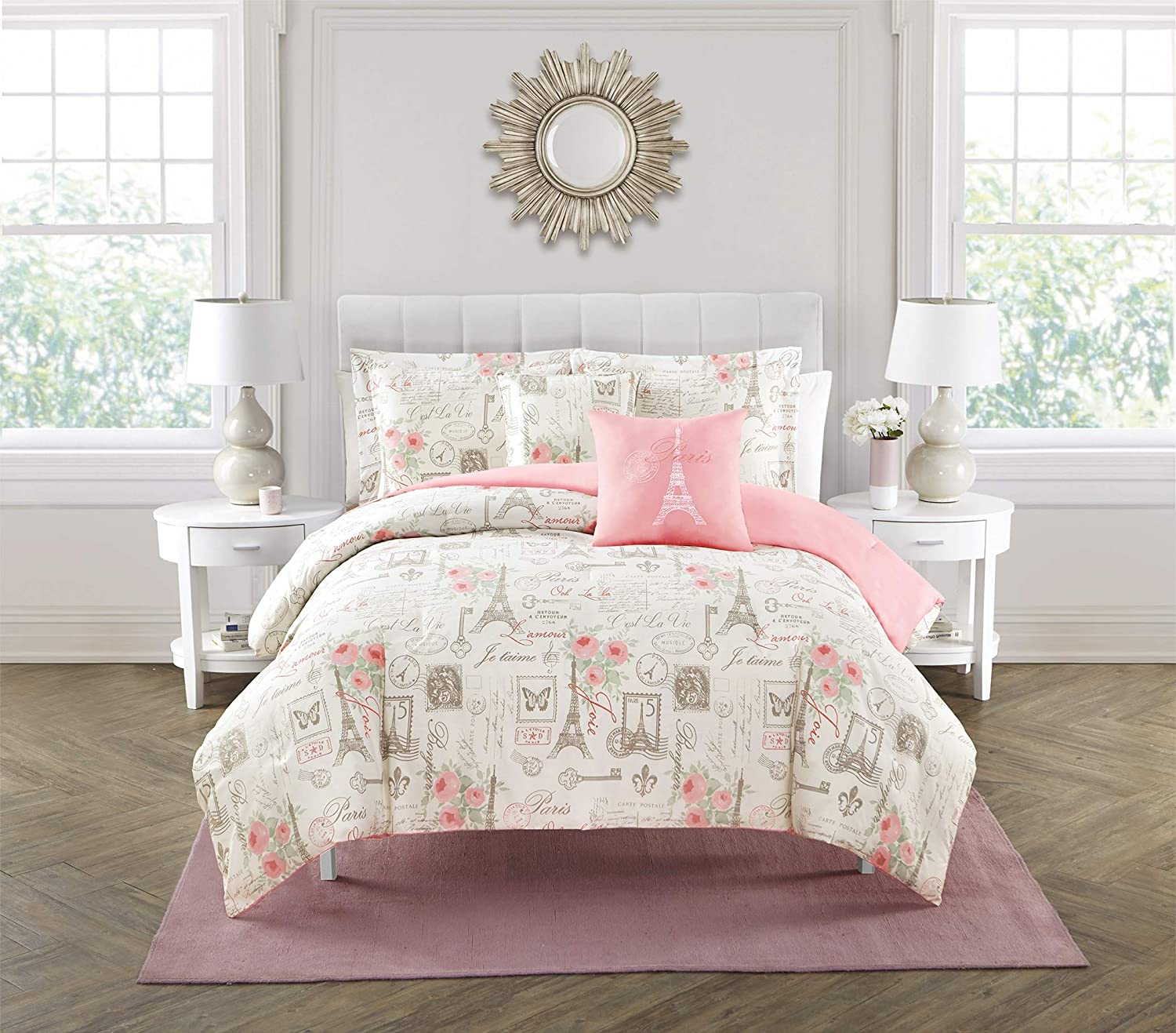 City of Romance 5-Piece Comforter Set, Super Soft, Paris decor for bedroom, Eiffel Towers, Watercolor Floral Bouquets, Butterflies, Reversible Bedding, French Country Pattern, Pink/White, King