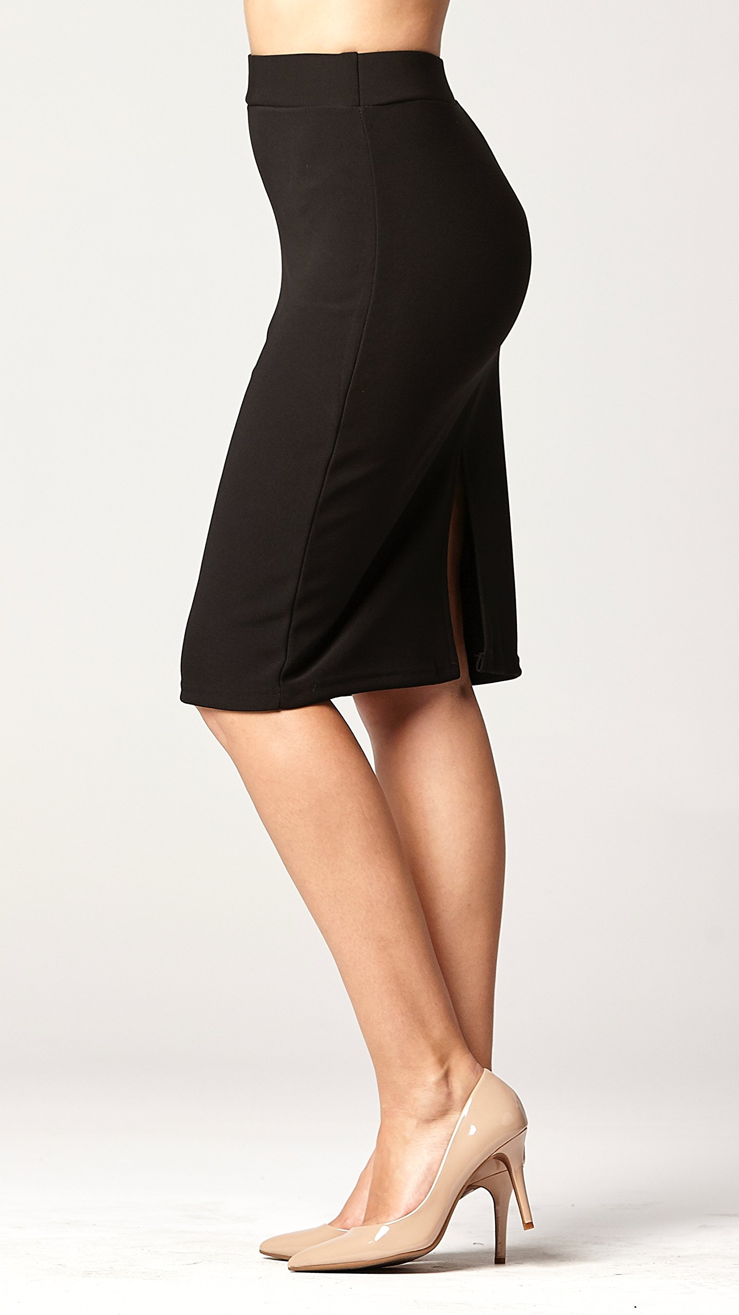 Conceited Premium Stretch Pencil Skirt - 10 Colors - by (Small, Black) by Conceited (Image #3)