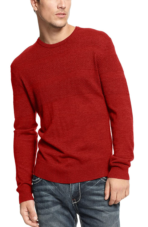 INC International Concepts Italian-Spun Yarn Mens Red Crewneck Sweater
