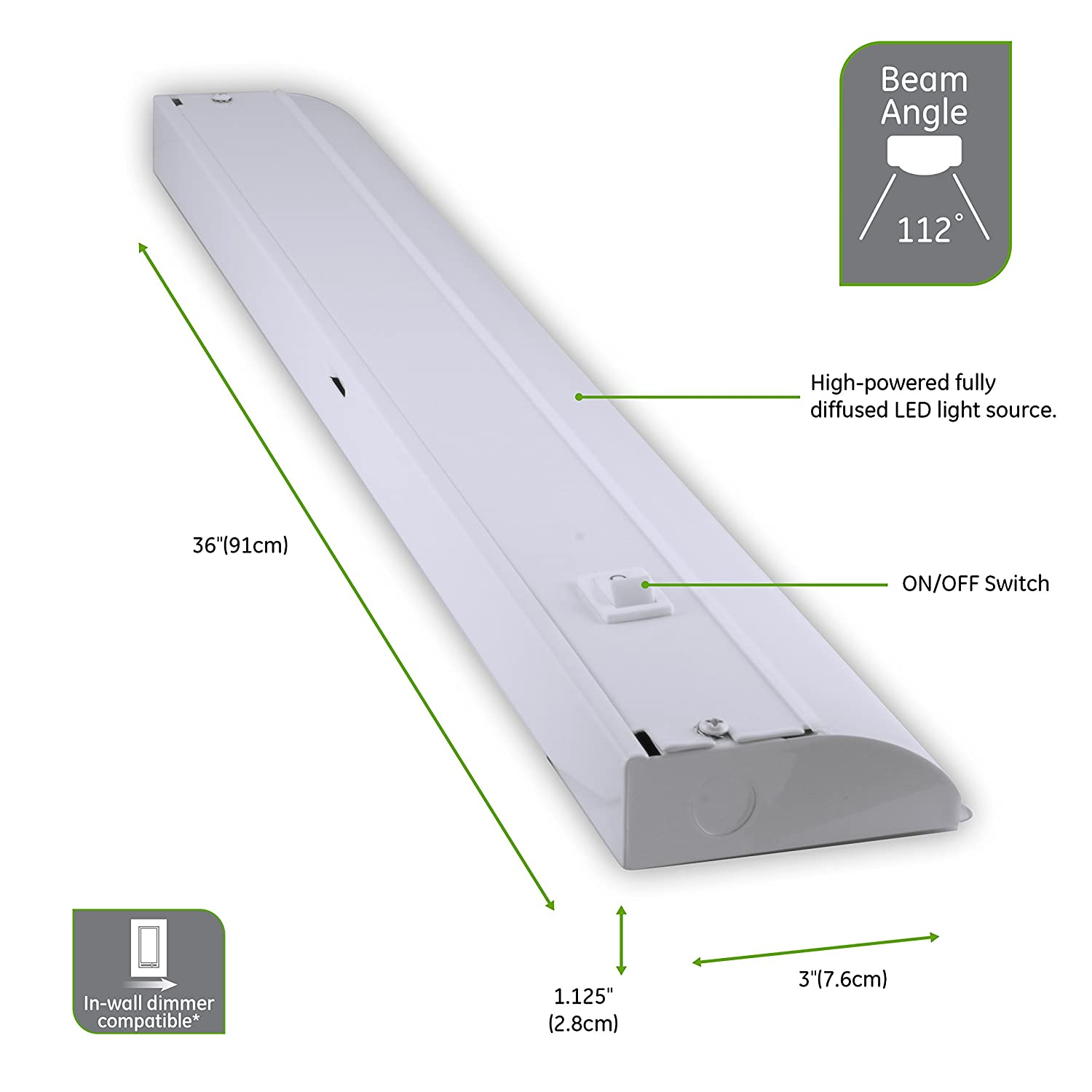 29434 Jasco Home /& Garden Direct Wire Steel Housing GE 36 Inch Premium Front Phase LED Under Cabinet Light Fixture 3000K Bright White 1366 Lumens In-Wall Dimmer Compatible Crafts /& Hobbies