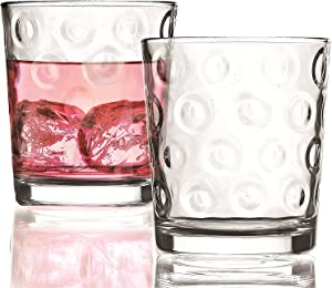 Circleware Circles Double Old Fashioned Whiskey Juice Drinking Glasses, Set of 4, 13 Ounce