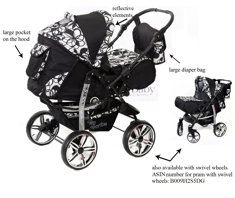 Baby Sportive - Sistema de viaje 3 en 1, silla de paseo, carrito con capazo y silla de coche, RUEDAS ESTÁTICAS y accesorios, color negro, flores ...