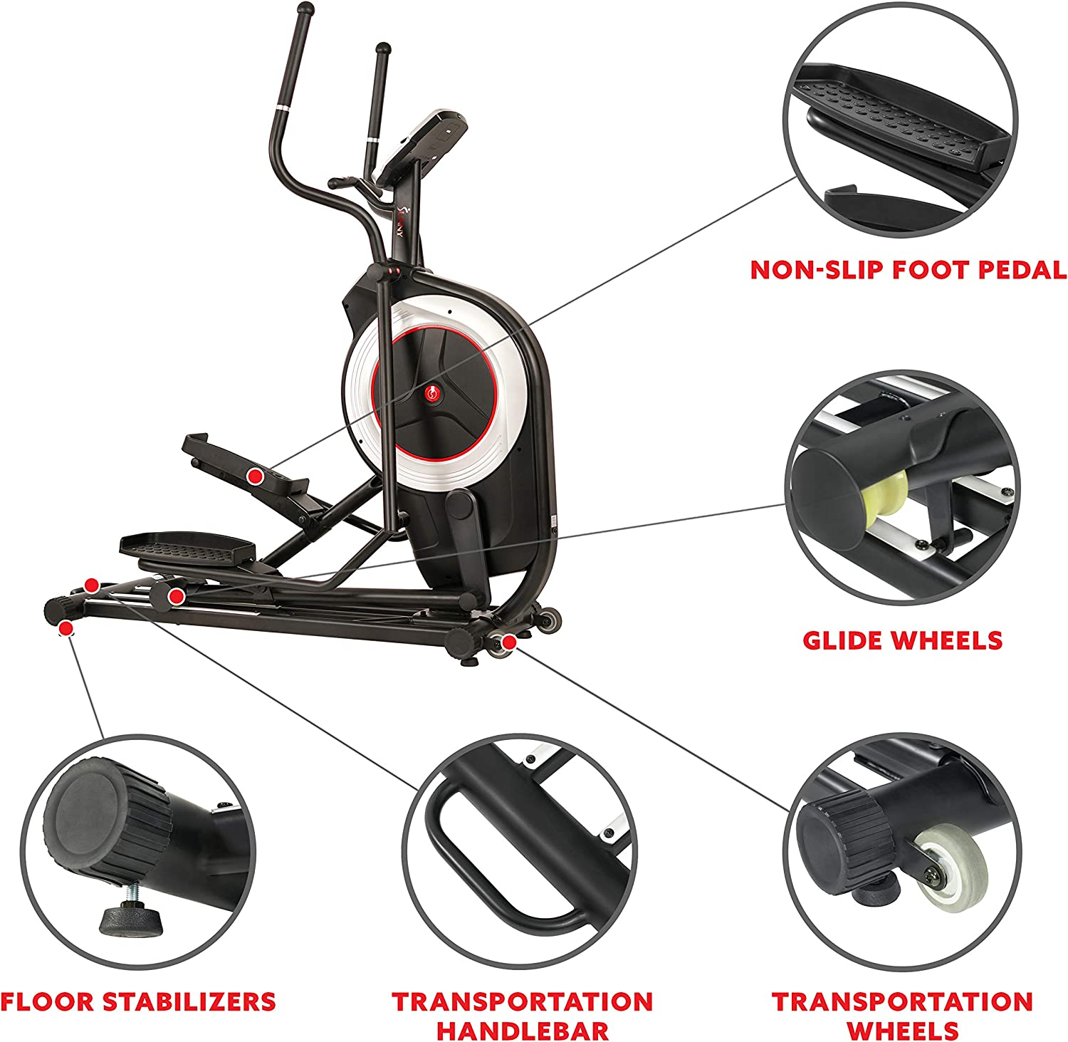 SF-E3875 Sunny Health /& Fitness Motorized Elliptical Trainer Elliptical Machine with Programmable Monitor High Weight Capacity and 20 Inch Stride