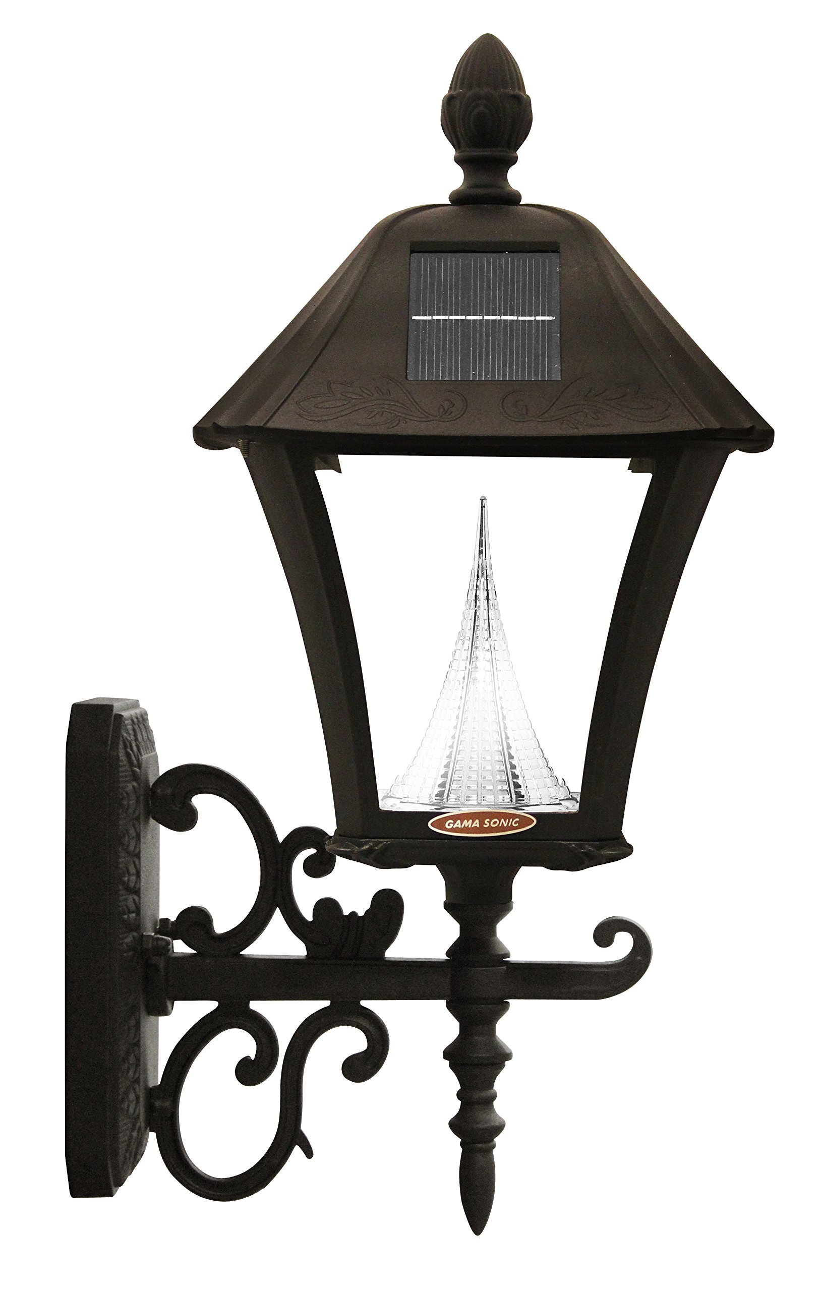 Gama Sonic Baytown Solar Outdoor LED Light Fixture, Pole/Post/Wall Mount Kit, Black Finish #GS-106FPW-B by Gama Sonic (Image #4)