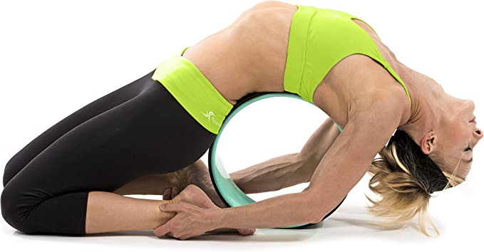 "Prosource Fit Yoga Wheel Prop 12"" for Improving Yoga Poses & Backbends, Flexibility, Balance, Stretching, Relaxation, Black/White"