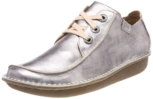 Clarks Funny Dream, Zapatos de Cordones Brogue para Mujer, Beige (Pewter Metallic), 41.5 EU