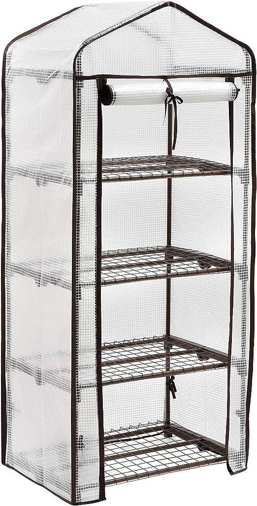 Sekey Serre de Jardin 4 étages Étagère avec Bâche Amovible Balcon Terrasse  Tente, Serre pour Les tomates, 69 x 49 x 158 cm