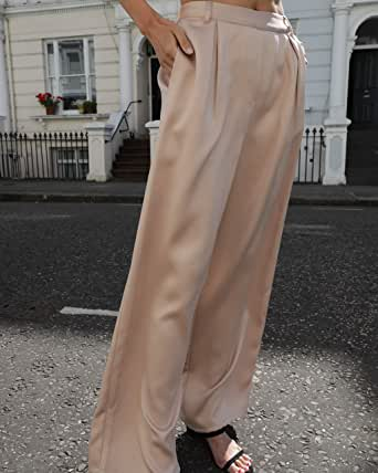 The Drop Women's @leoniehanne Beige Loose High Rise Wide Leg Silky Pant