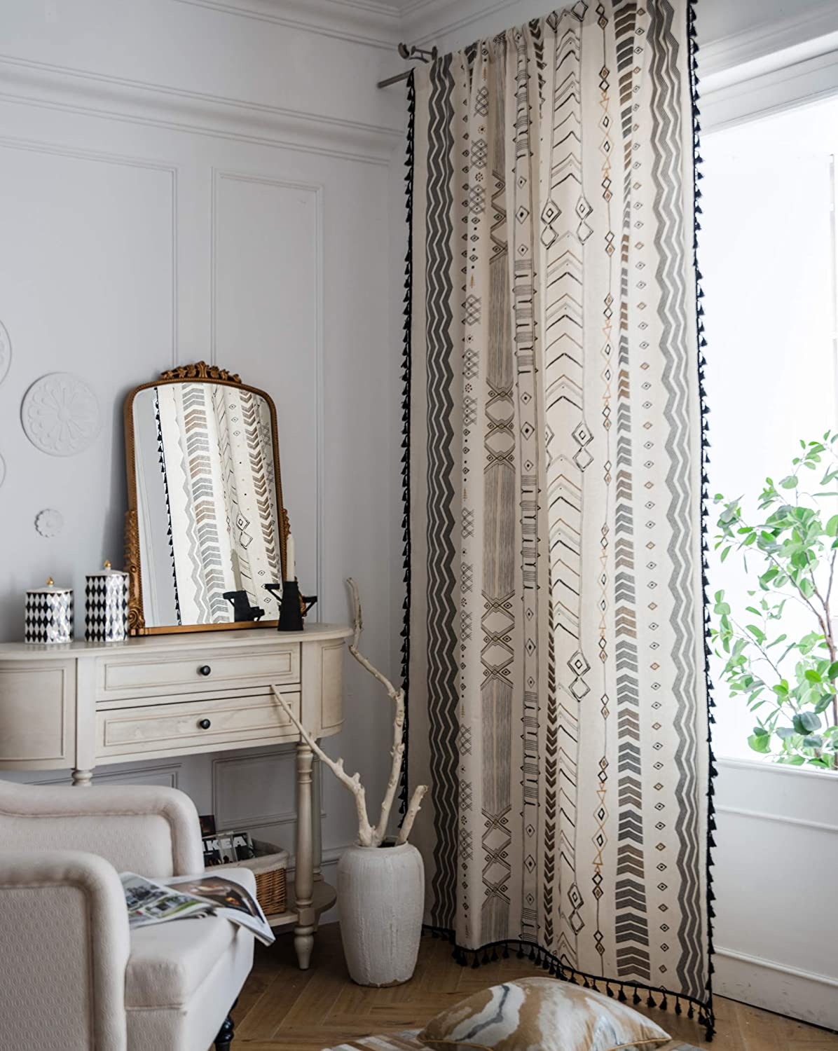 Hughapy Boho Curtains for Bedroom Bohemian Geometric Tassel Curtains Rod Pocket Cotton Linen Farmhouse Country Style Room Darkening Curtain Panel for Living Room, 1 Panel (59W x 87L, Arrow)