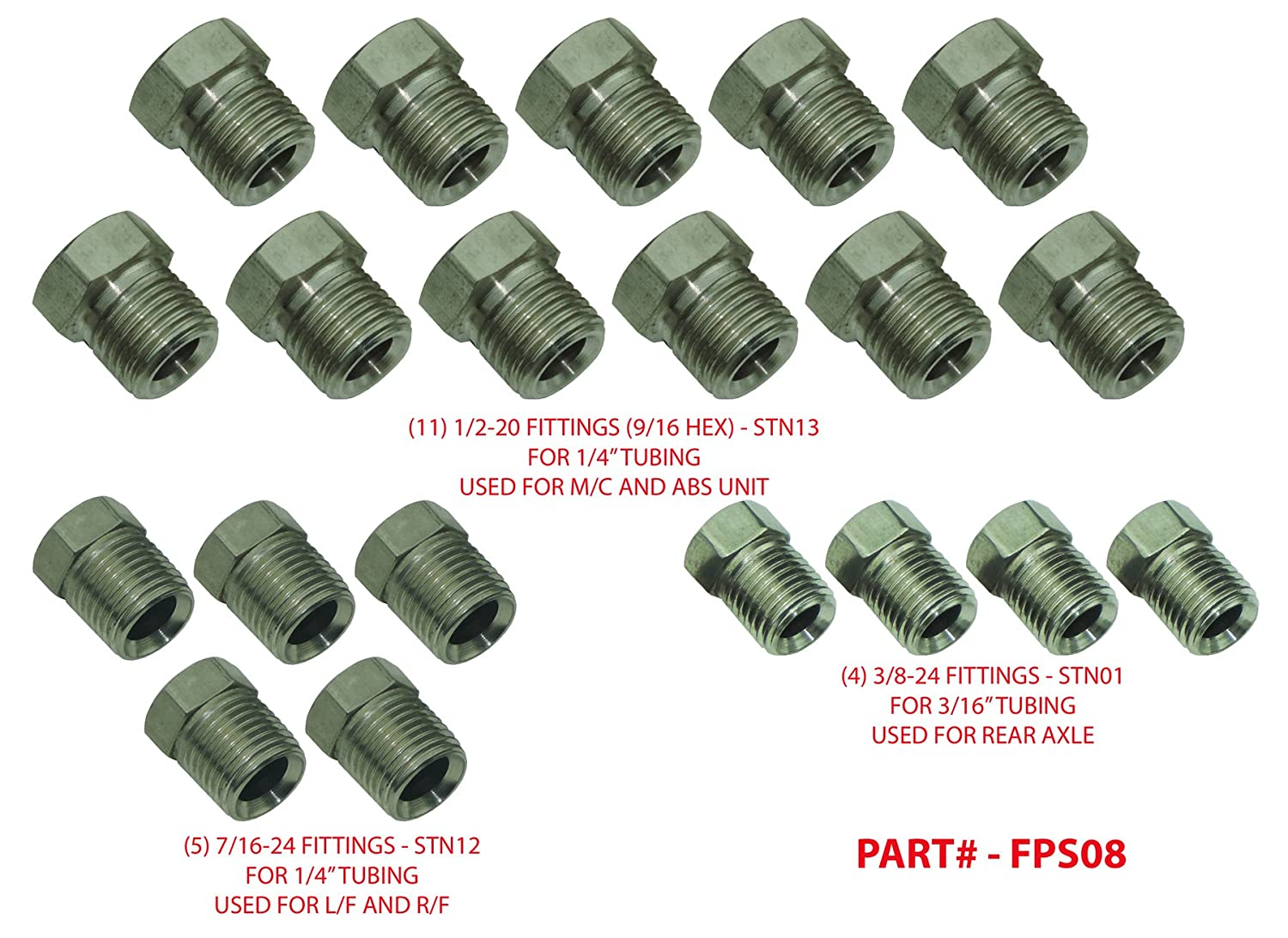 (L-3-2) 1999-07 Chevy GMC Truck Stainless Steel Brake Line Nuts Fittings Kit 3/16 & 1/4' 20pc (L-3-2) Inline Tube