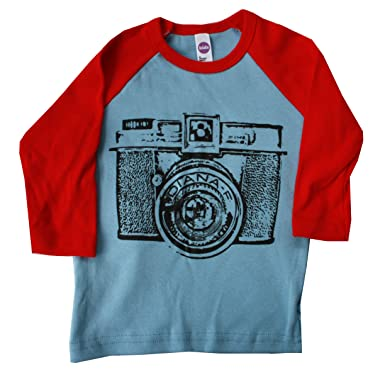 b1527c7286d82 Happy Family Retro Camera Boys 3 4 Sleeve Light Blue and Red American  Apparel T Shirt (4t)  Amazon.co.uk  Clothing