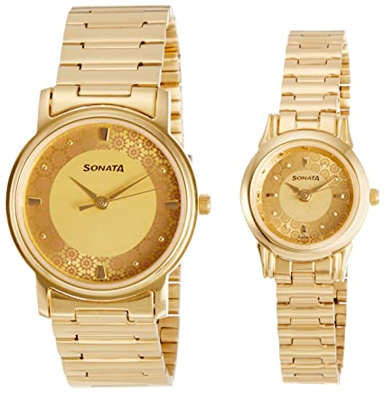 Analog Champagne Dial Couple's Watch -NK10138925YM01