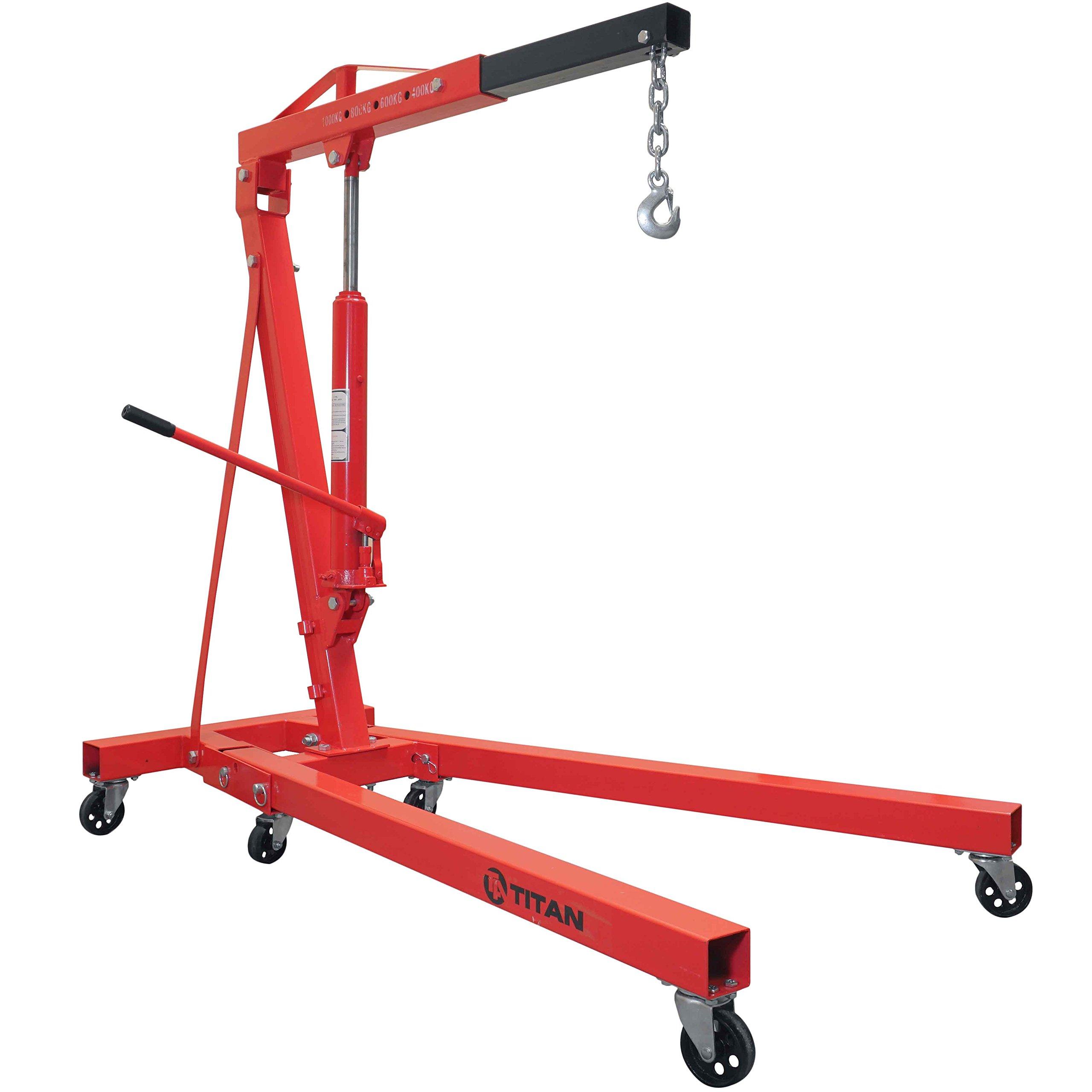 Titan Attachments 1 Ton Steel Shop Crane Adjustable Height Cherry Picker Lift by Titan Attachments