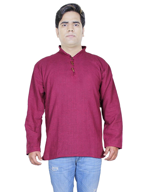 100% algodón khadi indio camisa de algodón - manga larga para hombre de la ropa de yoga kurta