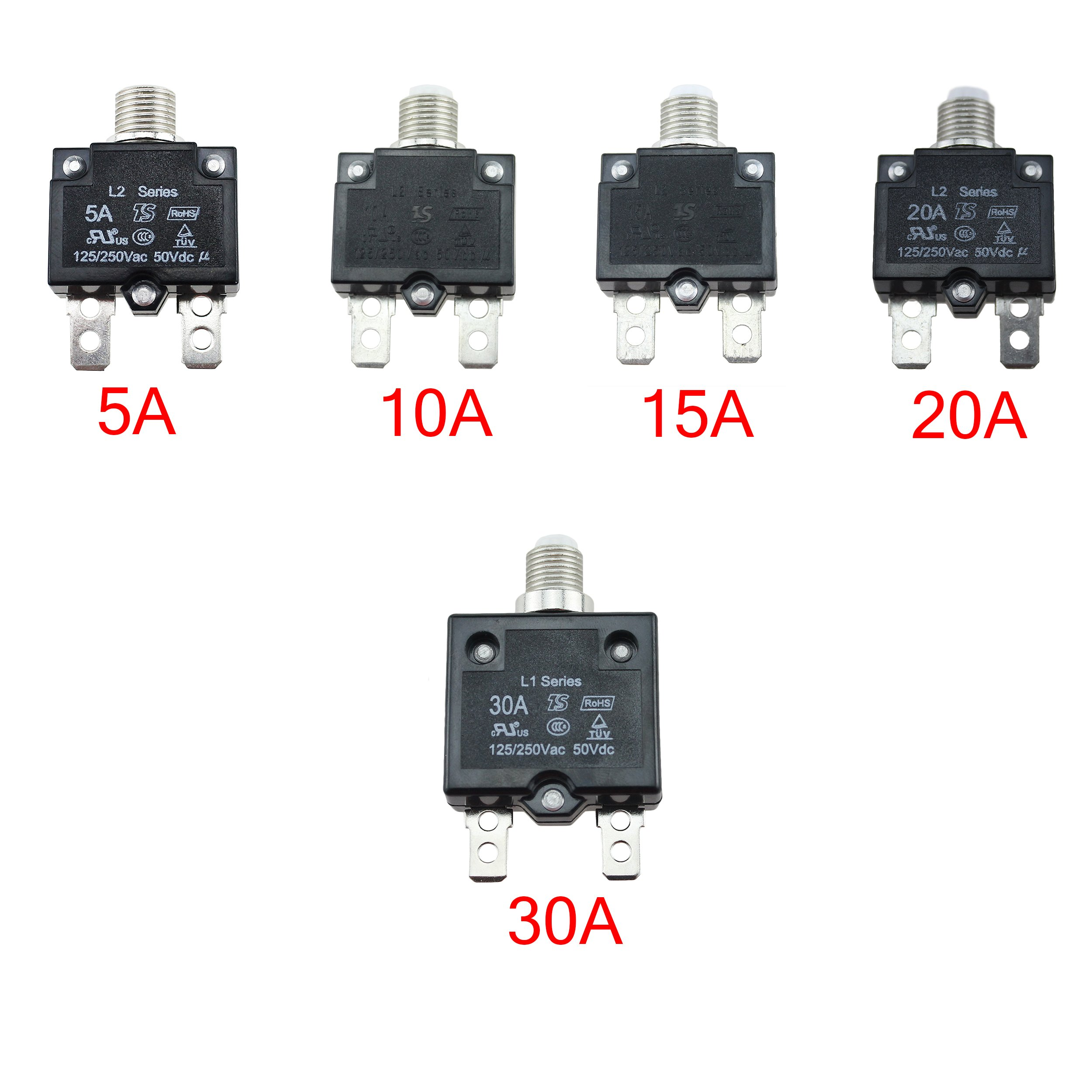 Iztoss 5pcs 5amp 10amp 15amp 20amp 30amp Circuit Breakers With 5 Amp Breaker Manual Reset Waterproof Button Transparent Cover Dc50v Ac125 250v Quick Connect
