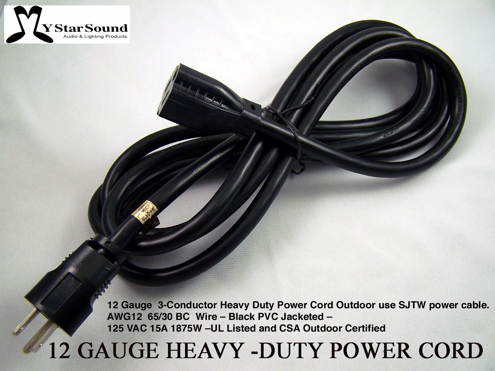 Extension Power Cord 10' Heavy Duty 12 Gauge 3 Conductor Rated for Outdoor Use. Great for Live Entertainment & Motor Home Power Sjtw