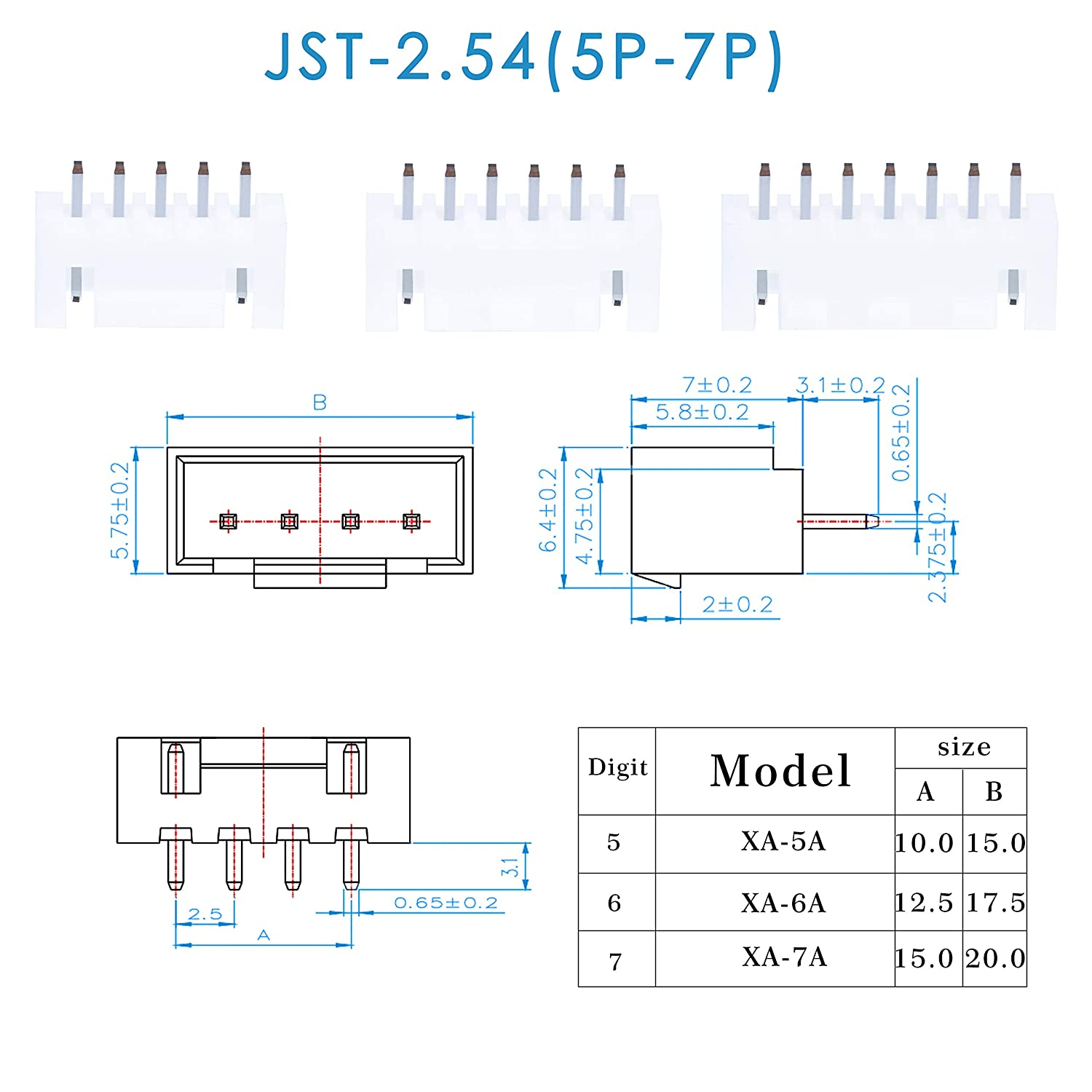 JST XA 5//6 // 7 Pin Housing JST Adapter Cable Connector Socket Male and Female Crimp DIP Kit. 2.54mm Pitch Female Pin Header CQRobot 360 Pieces 2.54mm JST-XA JST Connector Kit