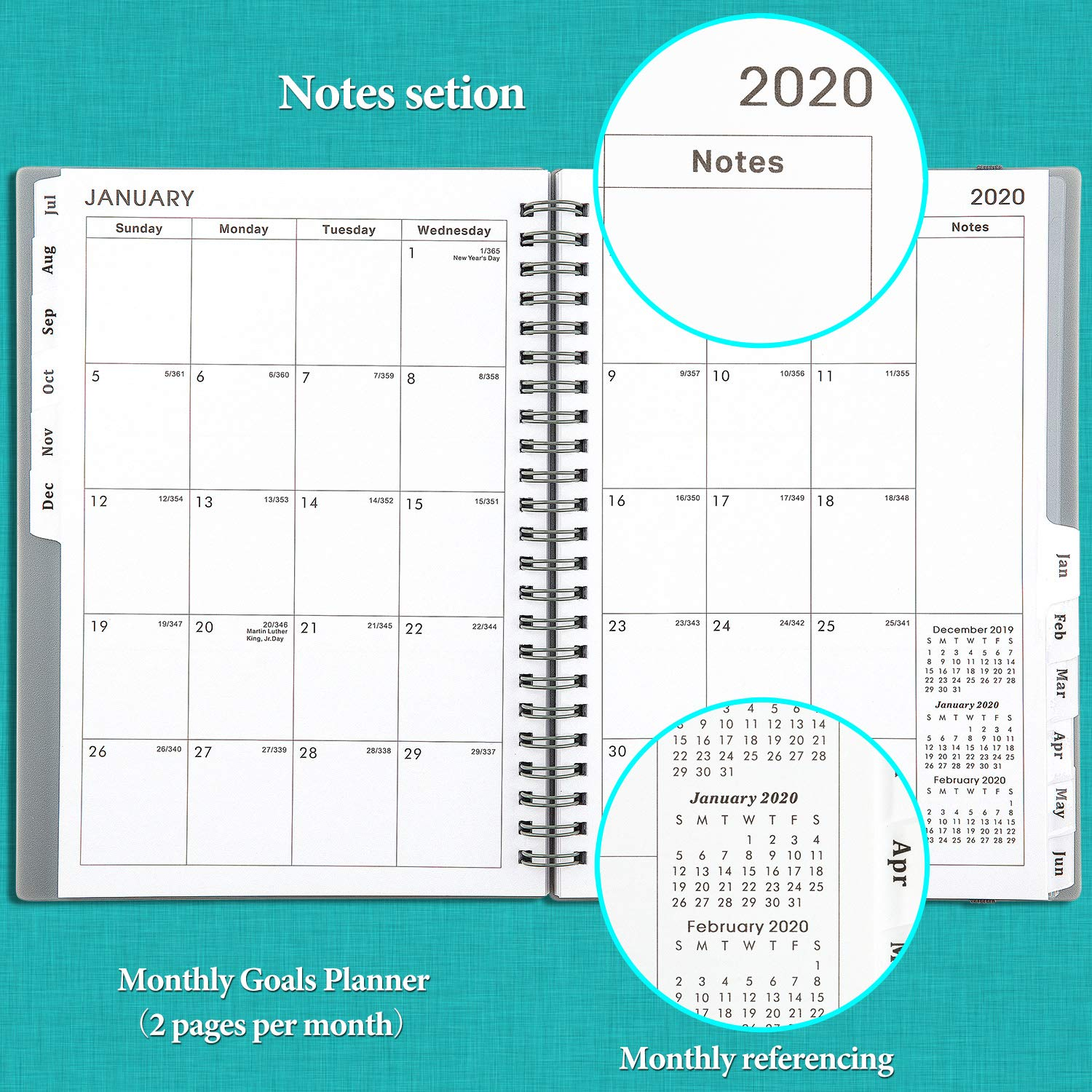 2019-2020 Academic Planner - Weekly & Monthly Planner with Tabs, Elastic Closure and Thick Paper, Back Pocket with 21 Notes Pages, 6.25