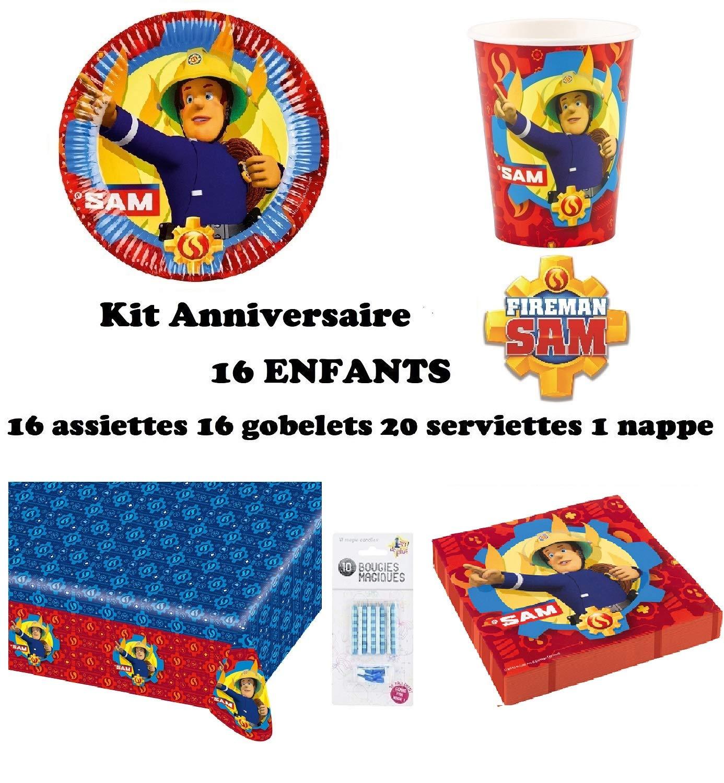 uni que Set de Cumpleaños Completa Sam el Bombero 16 niños (16 Platos, 16 Tazas, 20 servilletas,1 Mantel + 10 Velas mágicas ofrecidas) Fiesta Mesa de ...