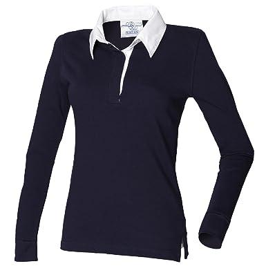 34bdbd8e567a8f Front Row Damen Rugby Polo-Shirt, Langarm: Amazon.de: Bekleidung