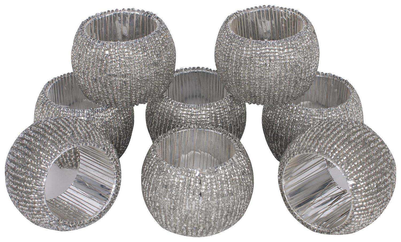 Antique Crystal Beads KAF Home Napkin Rings Set of 8