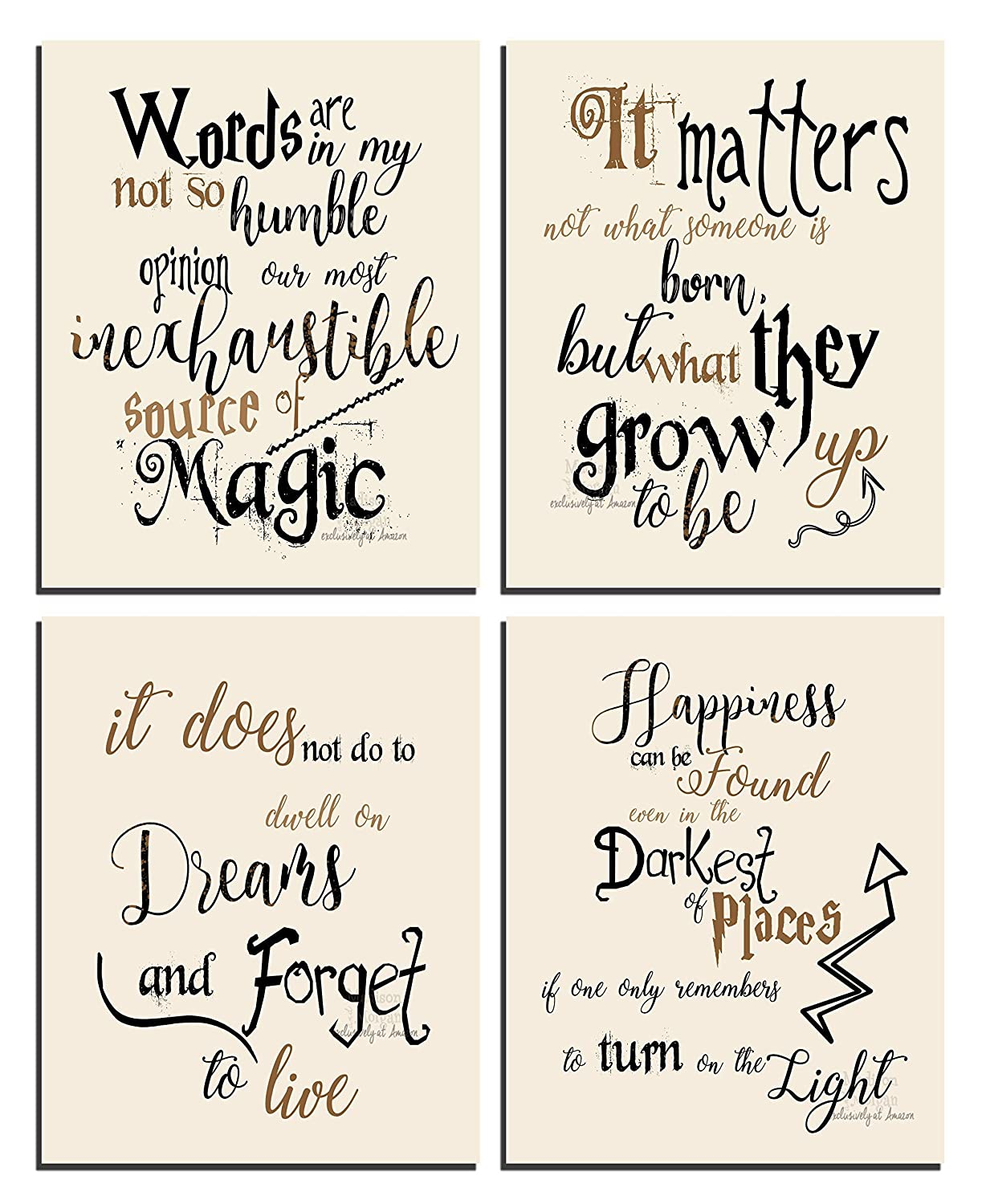 Wizard Art - Quotes and Sayings Art Prints | Set of Four Photos 8x10 Unframed | Unique Inspirational Wall Art - Great Gift for Wizarding World Fans