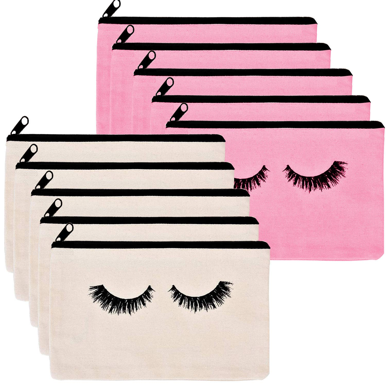 10 Pieces Eyelash canvas makeup bags - Kcddumk Cosmetic Bags Travel Pouches Toiletry Bag Cases with Zipper for Women and girls (Beige and Pink)