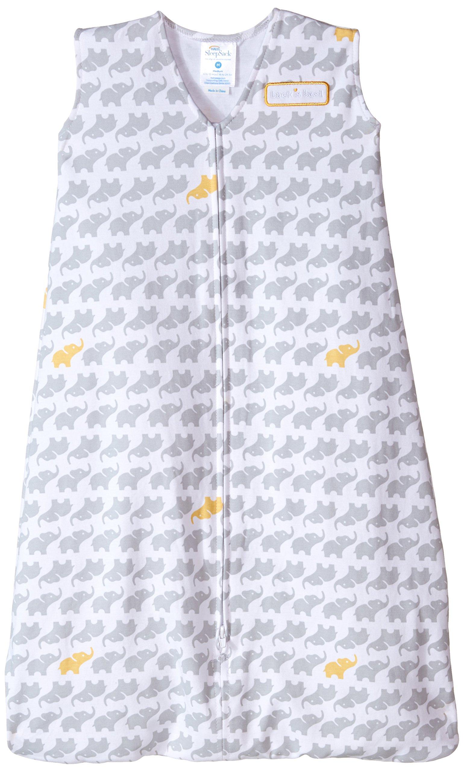 HALO SleepSack 100% Cotton Wearable Blanket, Gray Elephant Graphics, Medium