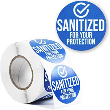 Removable Safety Sticker Labels 2 in, 500 Pieces Sanitized for Your Protection