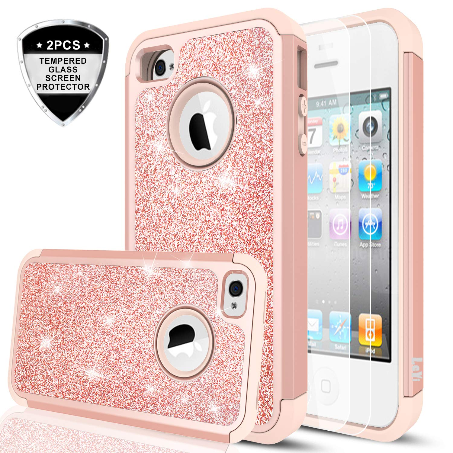 a01b691abc iPhone 4S Case,iPhone 4 Case with Tempered Glass Screen Protector [2  Pack],LeYi Glitter Bling Girls Women Dual Layer Heavy Duty Protective Phone  Case for ...