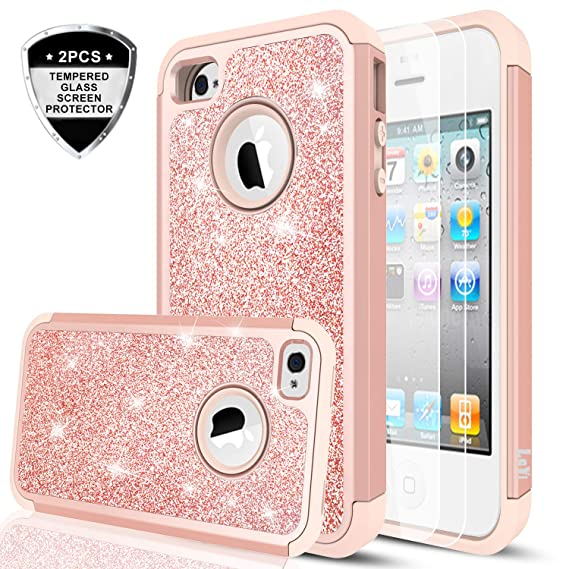 half off 612db 7e4a5 iPhone 4S Case,iPhone 4 Case with Tempered Glass Screen Protector [2  Pack],LeYi Glitter Bling Girls Women Dual Layer Heavy Duty Protective Phone  Case ...
