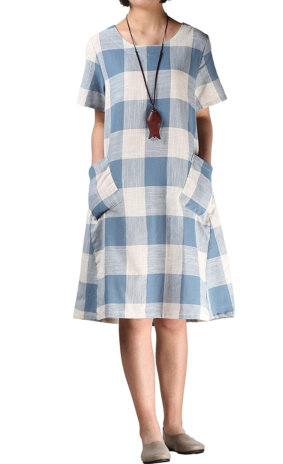 1920s Downton Abbey Dresses Mordenmiss Womens Cotton Linen Dress Large Checked Plaid Shirt Dress with Pockets $35.00 AT vintagedancer.com
