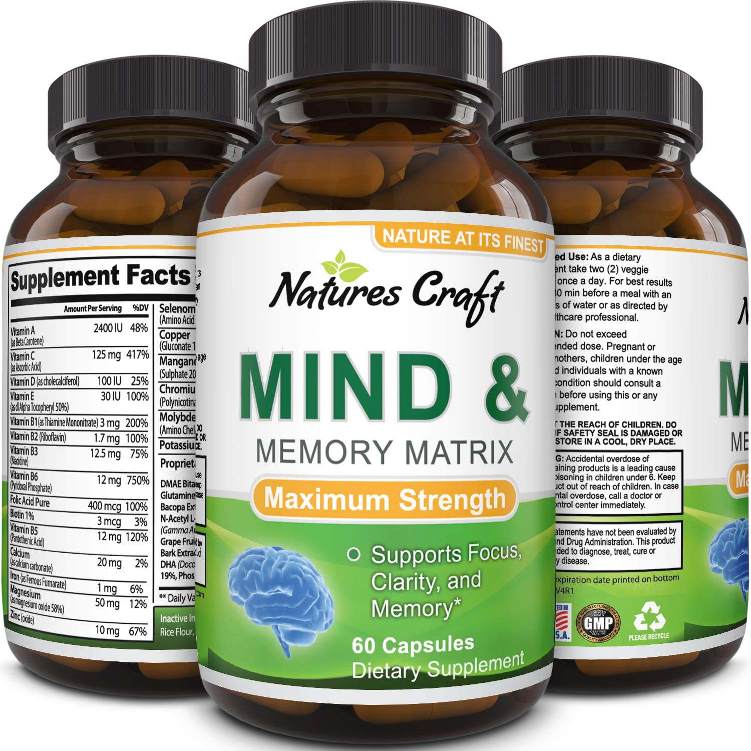 Mind and Memory Enhancement Supplement, Brain booster nootropic pills  Improve Focus