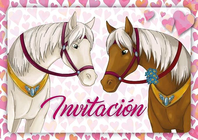 """Edition Colibri 10 Invitaciones en español """"Caballos"""" (Jgo.1): Juego de 10 Invitaciones tiernamente ilustradas con Caballos para el cumpleaños de ..."""