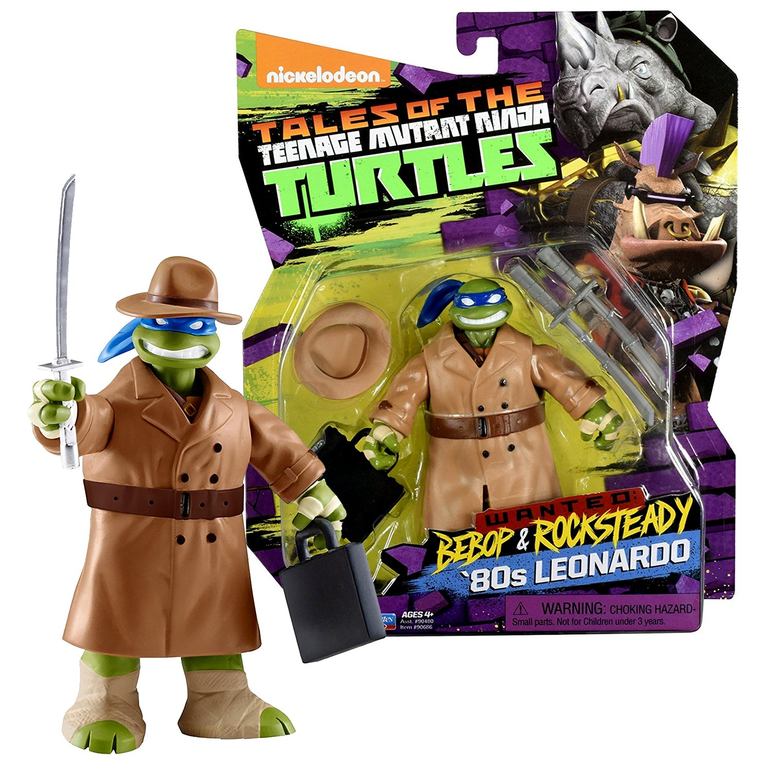 TMNT Year 2017 Tales of Teenage Mutant Ninja Turtles Wanted Bebop & Rocksteady Series 5 Inch Tall Figure - '80s LEONARDO in Trench Coat with Suitcase. Hat and Twin Swords