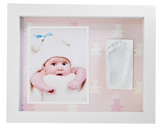 Marco de Fotos para Bebé Marco de Huellas para Niños - Regalos para Bebé Recién Nacido, Fondo Osos Rosa: Amazon.es: Bebé