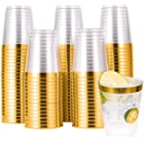 100 PACK Gold Plastic Cups,10 Oz Clear Plastic Cups Tumblers, Elegant Gold Rimmed Plastic Cups, Disposable Cups With Gold Rim