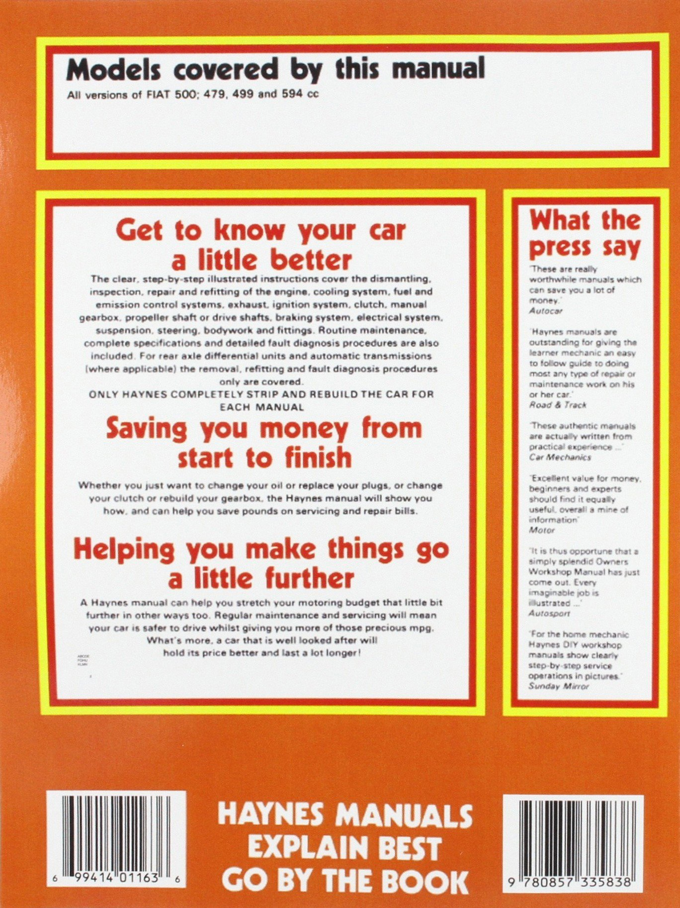 Fiat 500 Owner's Workshop Manual: James Larminie J. H. Haynes:  9780857335838: Amazon.com: Books