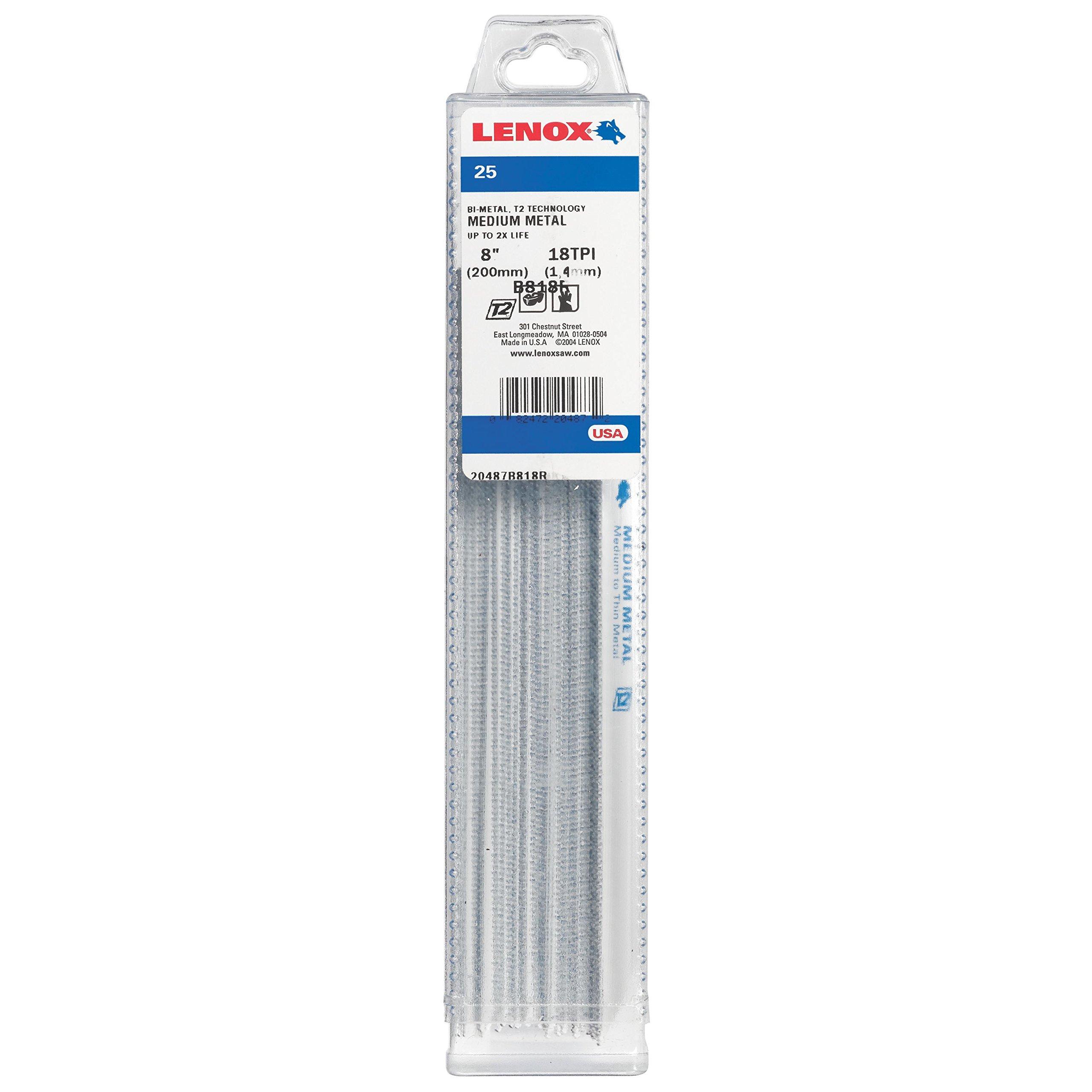 LENOX Tools Metal Cutting Reciprocating Saw Blade with Power Blast Technology, Bi-Metal, 8-inch, 18 TPI, 25/PK by Lenox Tools