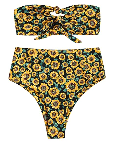 f3d5dc258a449 Amazon.com  ZAFUL Knot Sunflower High Waisted Bikini Set Bandeau Two Piece  Triangle Swimsuit  Clothing
