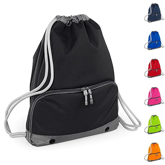 017690eb0e Joggaboms Gym Bag - Swim Bag - Drawstring Backpack - Waterproof - Strong  stitching and thick cords - Handy zipped wet pocket and shoe compartment -  Suitable ...