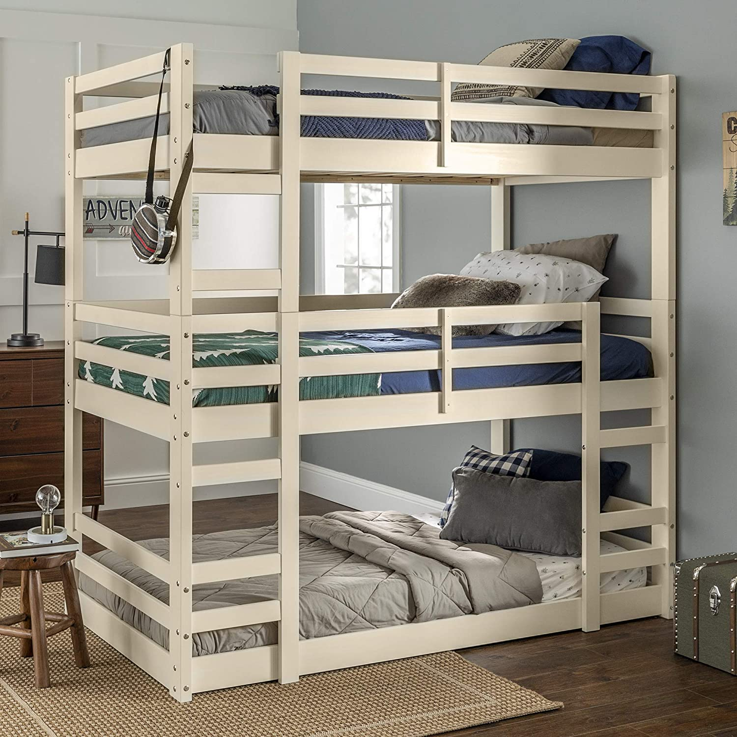 Amazon Com Walker Edison Alexander Classic Solid Wood Jr Twin Over Twin Triple Bunk Bed Twin Over Twin White Furniture Decor