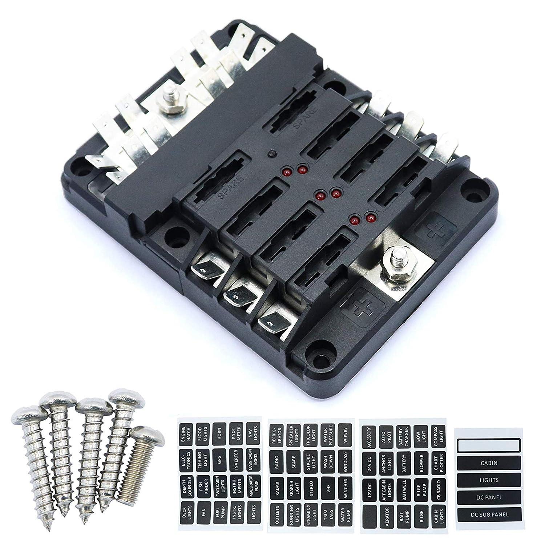 6 Way DC32V 100A Blade fuse blocks quick terminals with 12P negative busbar