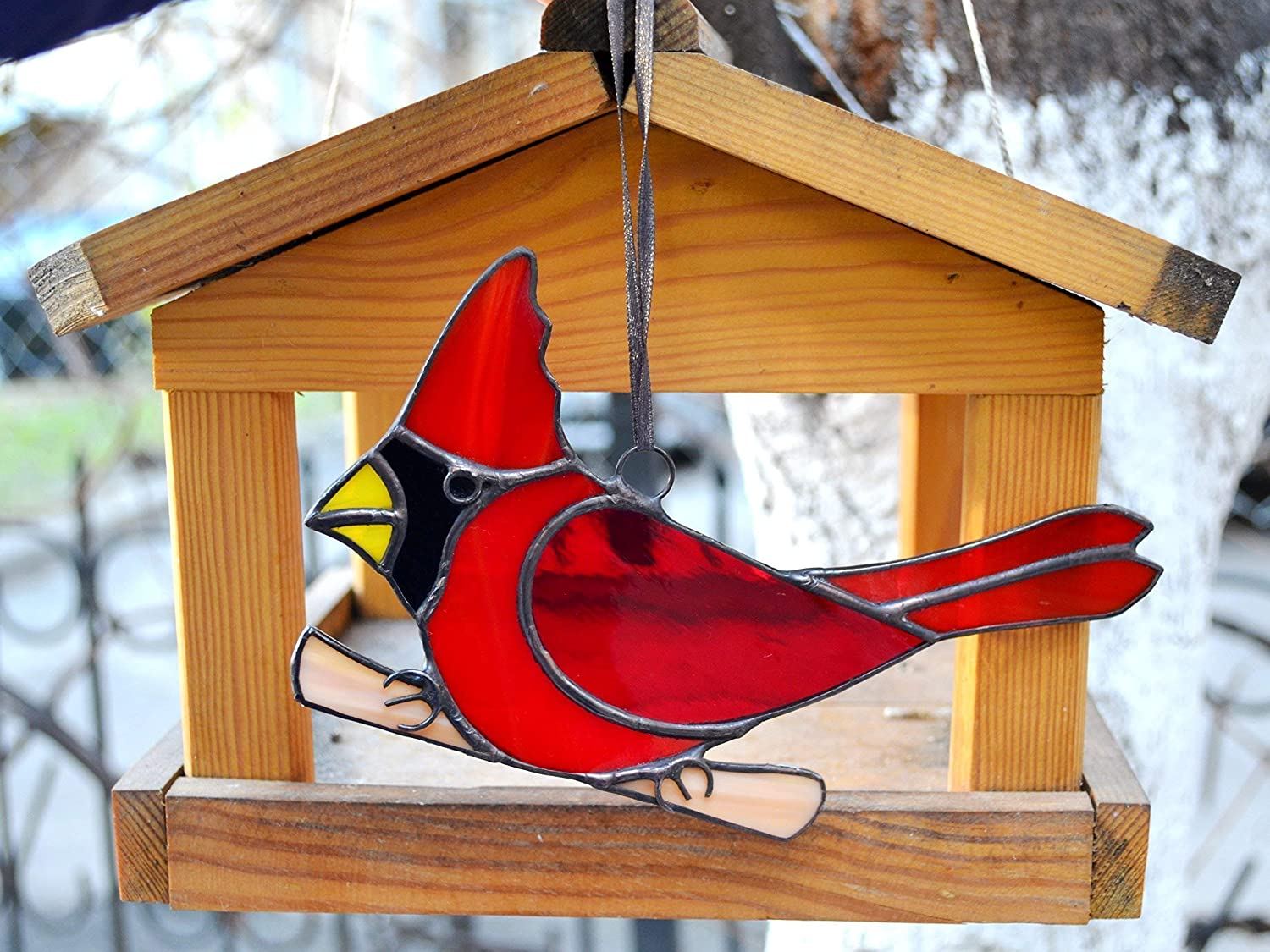 Stained Glass Red Cardinal Perched on Branch Suncatcher for Window Hanging or Bird Theme Wall Decor