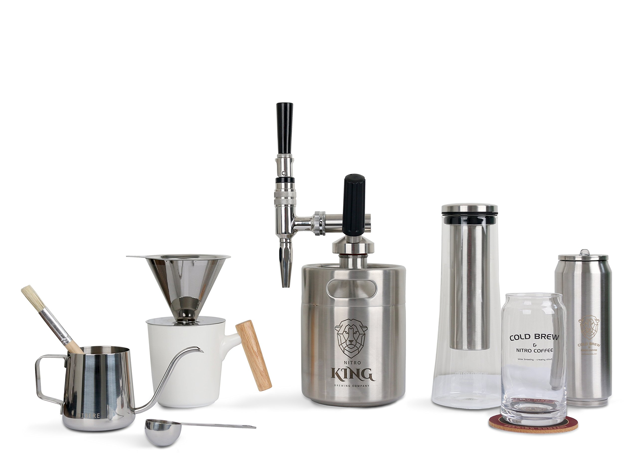 Unplugged Coffee Tools - Pour Over Coffee Maker - Glass Cold Brew Coffee Maker - 64oz Nitro Cold Brew Coffee Maker